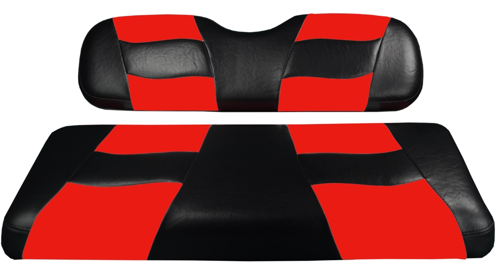 Madjax Riptide Black/Red Two-Tone Club Car DS Front Seat Covers (Fits 2000-Up)